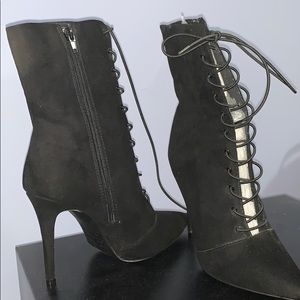 Black High Heel Booties Size 8
